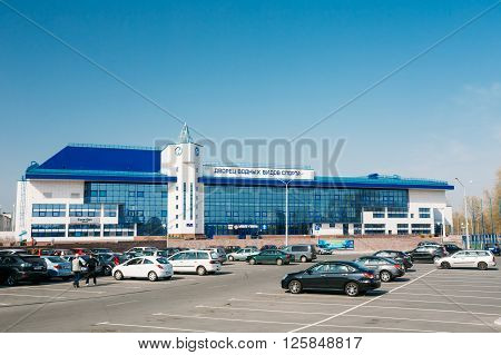 Gomel, Belarus - April 13, 2015: Building of Palace of Water Sports in Gomel, Belarus. Palace of Water Sports is primarily used for conducting training and competition for water sports. The first pool of Gomel with a 50-meter track.