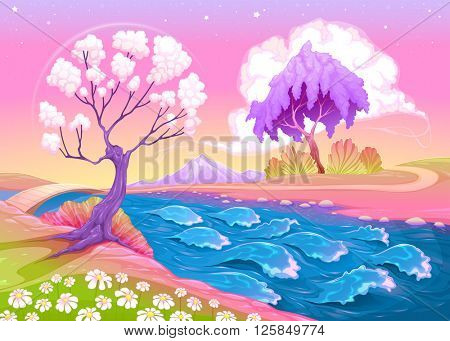 Astral landscape with trees and river. Vector illustration