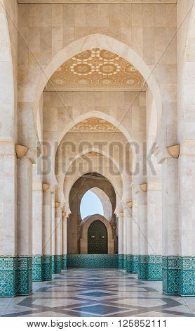 Casablanca, Morocco - March 21, 2014: The corridor in Grand Mosque of Hassan II on March 21, 2014 in Casablanca Morocco