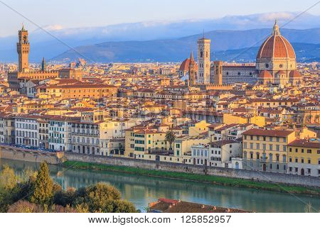 View of the beautiful Florence at sunset, Italy