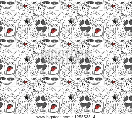 Seamless pattern with abstract monsters in black and white colors