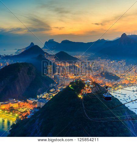 Night View Of Copacabana Beach, Urca And Botafogo In Rio De Janeiro
