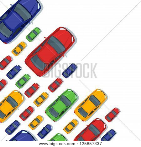 Vector background with multicolor cars. Top view isolated car icons. Street traffic parking transport or car repair service design concept.