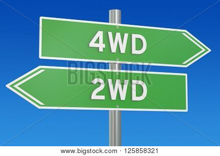 4WD vs 2WD concept 3D rendering on the signpost