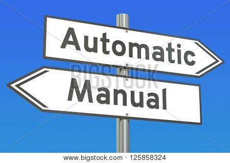 automatic vs manual concept 3D rendering on the signpost