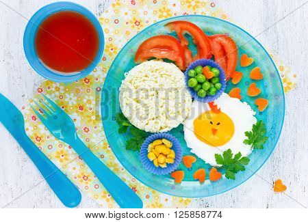 Easter breakfast for kids egg colorful vegetables cute idea for healthy child food top view