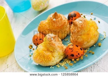 Funny Easter bun shaped bird. Easter baking concept sweet treats for kids selective focus
