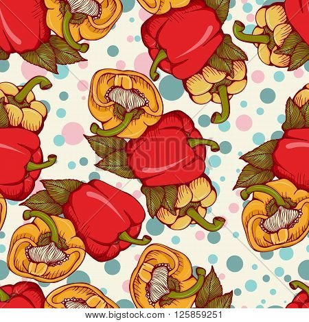 Vector seamless pattern with fresh colored yellow red orange sweet bulgarian bell peppers paprika. Illustration in retro style