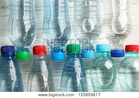 Bottled water on the wooden table,top view