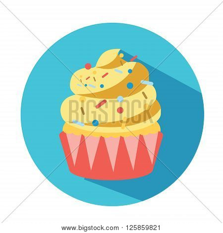 Creamy cupcake vector illustration for your business menu banners and other design on blue background with long shadow