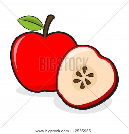Vector stock of sliced apple and a full apple fruit
