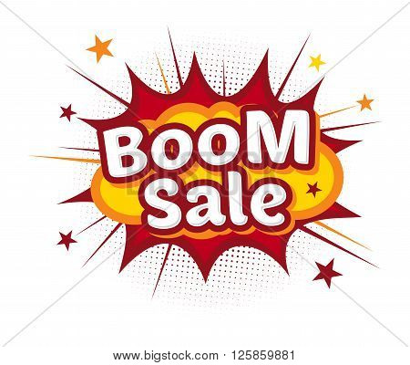 Vector stock of comic explosion bang and boom store promo sale