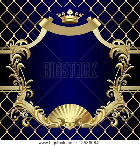 Vintage gold banner with a crown on dark blue baroque ornamental background