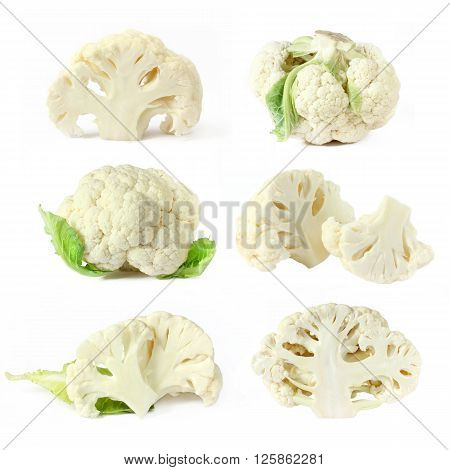 Collection of cauliflower isolated on white background