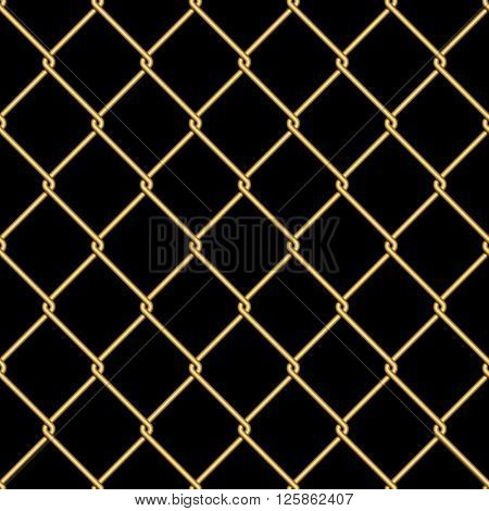 Gold wire grid seamless pattern background on black