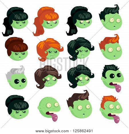 Big set of heads zombie isolated on white background. Zombie men and women in cartoon style. Set heads zombies with different hairstyles. Vector illustration.