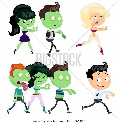 Set of a zombie isolated on white background. Zombie men and women in cartoon style. Zombies are attacking people. Vector illustration.