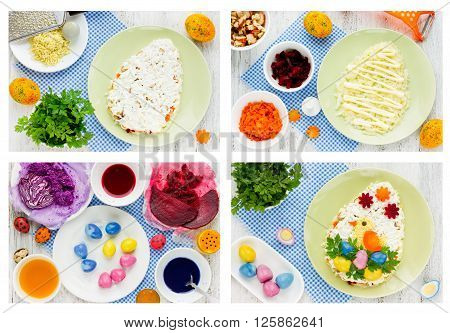 Recipe step by step collage for cooking original Easter snack salad egg-shaped decorated fun chick of egg yolk and natural dyeing colorful eggs