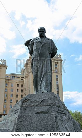 MOSCOW, RUSSIA - MAY 3, 2014: Monument to Ukrainian poet Taras Shevchenko in Moscow