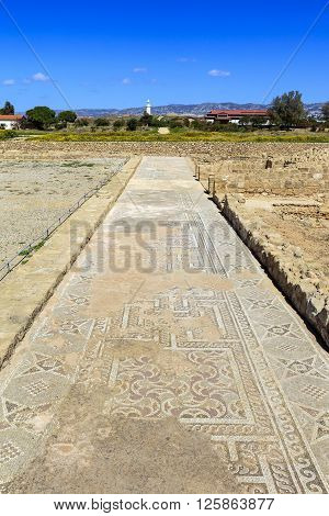 PAPHOS, CYPRUS - MARCH 11: Ancient mosaics at the Archaeological Helenistic and Roman site at Kato Paphos in Cyprus on March 11, 2016.