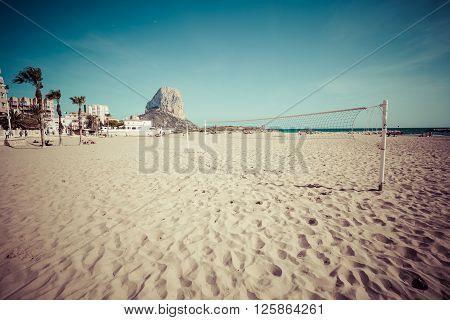 Calpe. Alicante. Arenal Bol beach Mediterranean sea in Spain.