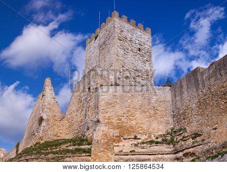 View of the Castello di Lombardia - Lombardy Castle Enna