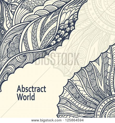 Abstract  Background   with Zen-doodle or  Zen-tangle  pattern black on white for coloring page or relax coloring book or wallpaper or for decorate package clothes  or creative Post Card