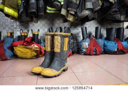 Boots On Floor At Fire Station