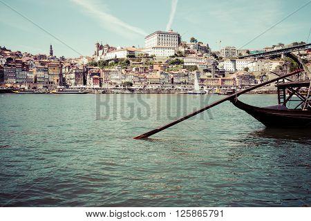 Porto Portugal old town on the Douro River.