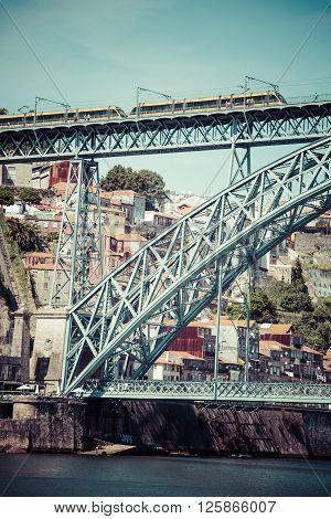 Porto, Portugal - 22 May2015: View of Dom Luis I bridge in Porto Portugal