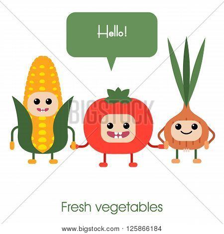 Collection of cartoon Cute smiling vegetables - corn tomato onion. Healthy style collection.