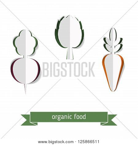 Abstract vector background with paper carrots beets fnd artichoke. Organic food concept.