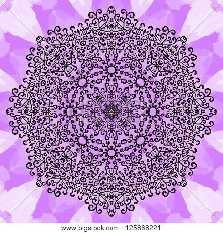 Mandala Print on Violet Seamless Texture. Vintage decorative element endless hand drawn background. Oriental vector pattern illustration.  Islamic, Arabic, Indian, Turkish, Pakistan, Chinese, Asian, Moroccan, Ottoman motifs.