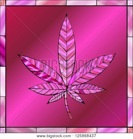 Stunning cannabis leaf in stained-glass style in a pink color scheme.