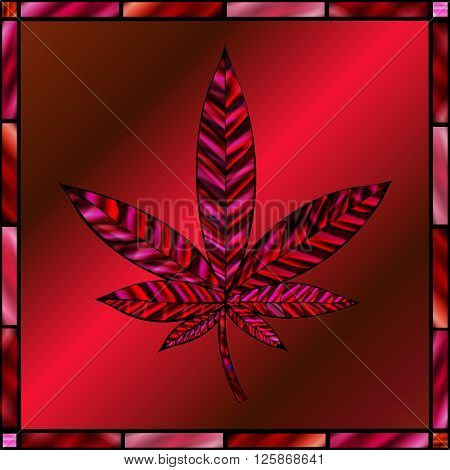 Stunning cannabis leaf in stained-glass style in shades of red.