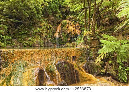 Caldeira Velha, hot waterfall at Sao Miguel, Azores