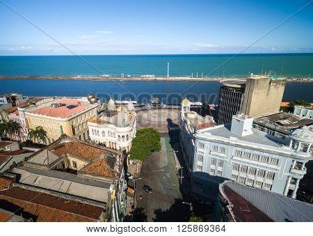 Aerial View of Marco Zero Square, Recife, Brazil