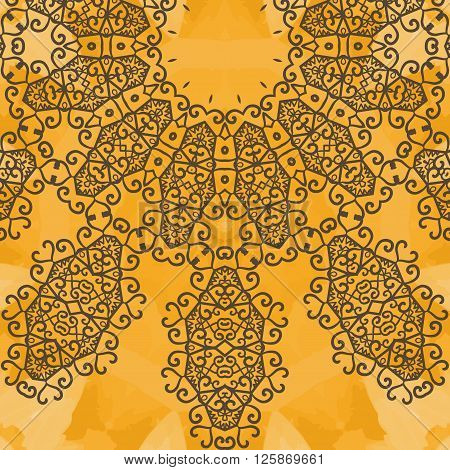 Indian Yoga Ornament, kaleidoscopic floral pattern, yantra. Seamless ornament lace.Oriental vector pattern. Islamic, Arabic, Indian, Turkish, Pakistan, Chinese, Asian, Moroccan, Ottoman motifs.