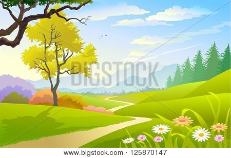SCENIC SPRING LANDSCAPE WITH FLOWERS