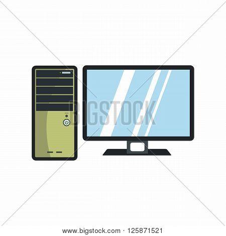 Flat computer icon for repair service design. Vector illustration