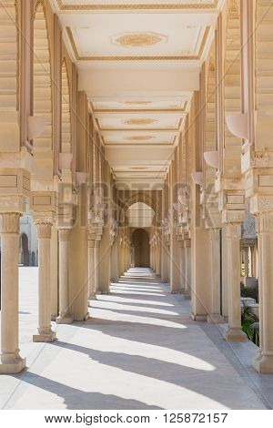 The corridor in Grand Mosque of Hassan II with blue sky in Casablanca Morocco