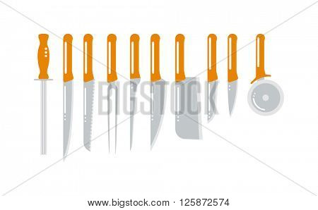 Set of steel kitchen knifes carving, paring, and utility sharp tool cooking equipment collection vector illustration.