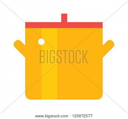 Cartoon pan cooking steel home kitchen equipment pot vector illustration.