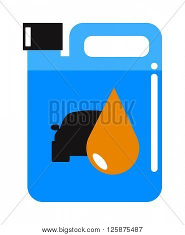 Metal canister of gasoline cartoon flat vector illustration.