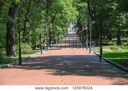 Lviv Ukraine - July 5 2014: Central alley in Ivan Franko park. Ivan Franko is famous Ukrainian writer