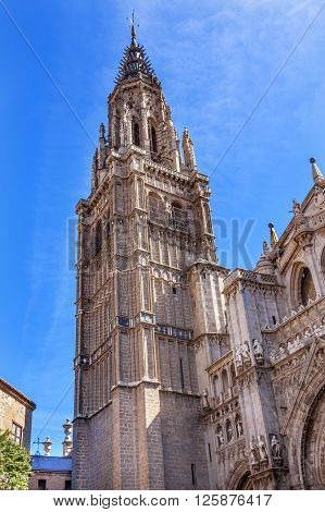 Cathedral Spire Tower Toledo Spain. Cathedral started in 1226 finished 1493
