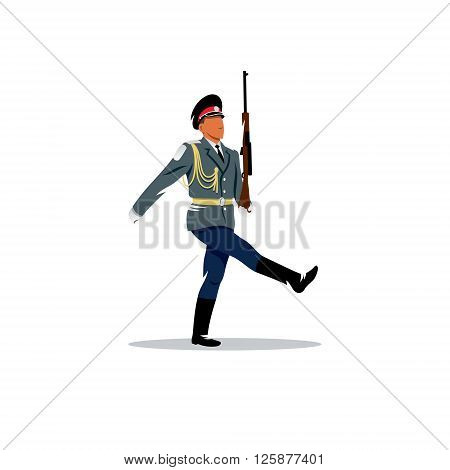The soldier honor guard in Russia with a gun in the hands on a white background