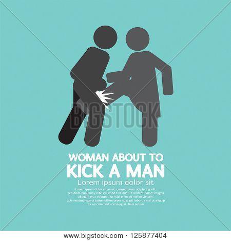 Woman Kick A Man Symbol Vector Illustration. EPS 10