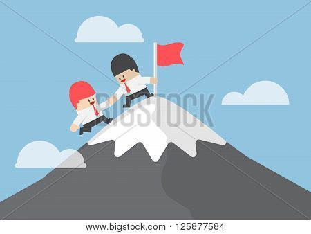 Businessman Help His Friend To Reaching The Top Of Mountain