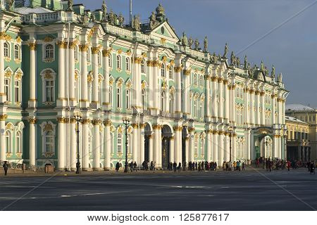 ST. PETERSBURG, RUSSIA - FEBRUARY 03, 2015: The facade of the Winter Palace, cloudy february day. Historical landmark of the city St. Petersburg